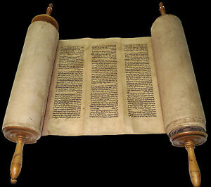RARE COMPLETE HANDWRITTEN TORAH BIBLE SCROLL DEER SKIN 250 YRS MOROCCO