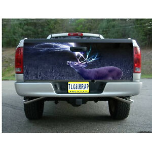 T73 DEER LIGHTNING Tailgate Wrap Vinyl Graphic Decal Sticker LAMINATED