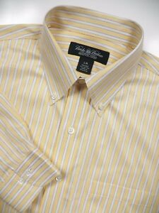 BROOKS BROTHERS MENS LARGE CASUAL SPORT DRESS SHIRT YELLOW WHITE BLUE STRIPE LUX