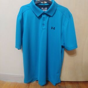 Under Armour UA Men L Size Large Golf Short Sleeve Blue Polo Dry Fit Sport Shirt