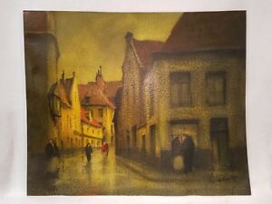 Antique Signed Oil Painting on Textured Artist Board European Street Scene $200.00