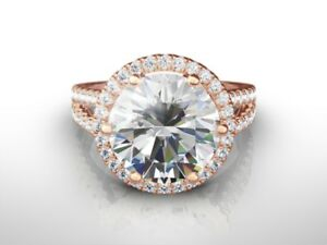 6.00 CT ROUND DVVS2 ENHANCED DIAMOND  ENGAGEMENT RING 18K ROSE GOLD GIFT