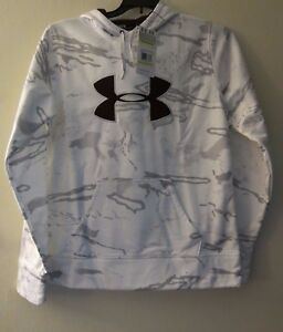Under Armour Women's M White Gray Camo Hooded Sweatshirt Jacket Cold Gear