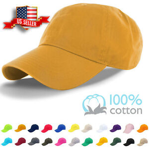 Cotton Cap Baseball Caps Adjustable Solid Dad Hat Polo Style Washed Curved Visor $6.95