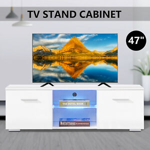 High Gloss White TV Stand Unit Cabinet w 2 Drawers Entertainment Media Console