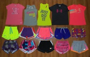 Lot 15 Girl's UNDER ARMOUR NIKE Heatgear Shorts Shirts Tops YMD Youth Medium