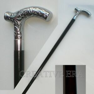 Brass Victorian Silver Antique Designer Handle Black Wooden Walking Cane Vintage $28.02