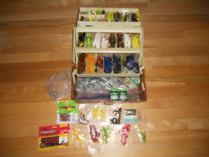 Vintage Fishing Tackle box loaded with plastics and more    Rods Reels n Deals
