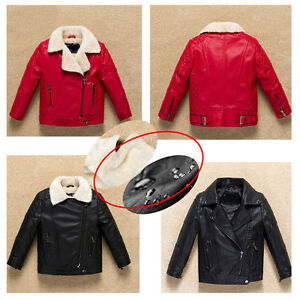 kids boy Cotton warm coats PU Leather Turn-down fur Collar jacket Outerwear R03