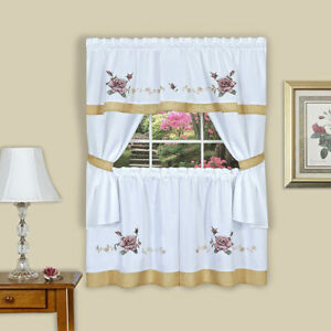 Rose Embellished Kitchen Curtain Tier & Swag Set, White-Red, 58x36 Inches