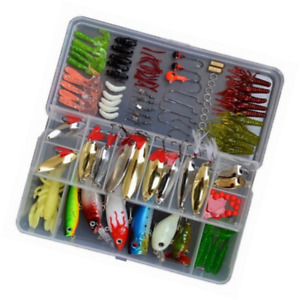 129 Pcs in a Box Fishing Lures Tackle Soft Hard Bait Sequins Bait Bionic Fishing