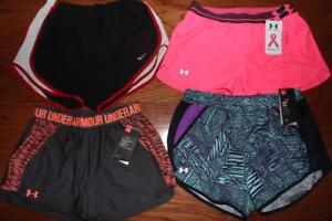 LOT 4 NIKE DRI-FIT UNDER ARMOUR WOMENS RUNNING SHORTS POWER IN PINK S $120 NWT