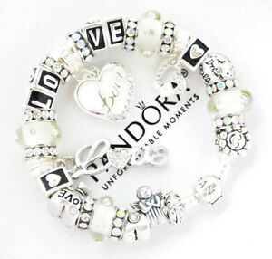 Authentic Pandora Bracelet Silver White LOVE Angel Wife Mom European Charms New