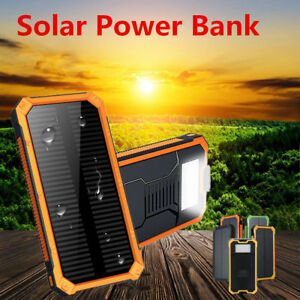 100000mAh Dual USB Portable Solar Battery Charger Solar Power Bank for Phone LOT