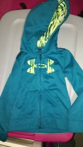 Under Armour Girls Zip Up Blue and green Hoodie Size 4 4T Youth Kids