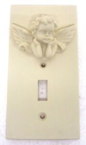New 3D Ceramic Cherub Angel Switch Plate Light Cover Single Victorian