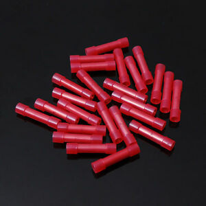 50 pcs Pack 8 AWG GA. Seamless Red NYLON Butt Connectors Wire Crimp Terminals pc