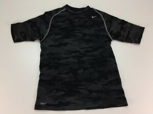 Nike Fit Dry Pro Performance Apparel Camo Shirt M Black Train Workout Mens 7372