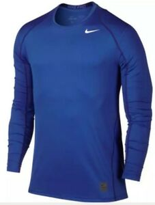 NIKE MEN'S DRY-FIT PRO COOL FITTED LS SHIRT Small Royal Blue 703100-480 NEW $32