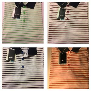 LOT OF 4 Men's NIKE GOLF STRIPE POLOS SHIRTS SIZE M NWT Dri-Fit Gym Fitness