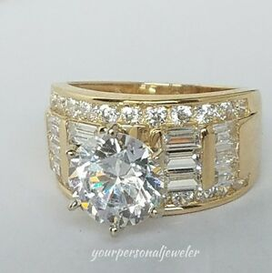 5.5 crt Solid 14k yellow Gold round  Man Made Diamond Engagement Wedding Ring 7