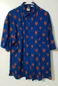 NEW YORK METS HAWAIIAN SHIRT button down casual MLB baseball cotton 2xl XXL