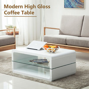 High Gloss White Glass Coffee Table Storage Living Room Furniture with 2 Shelves