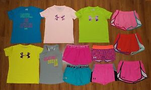 Lot 12 Girl's UNDER ARMOUR Heatgear Shorts Shirts Tops YLG Youth Large