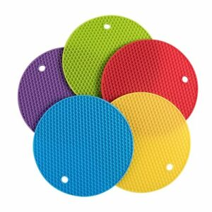 SILICONE POT HOLDERS Non-Slip Square And Circle Mats Trivet Heat Resistant BPA