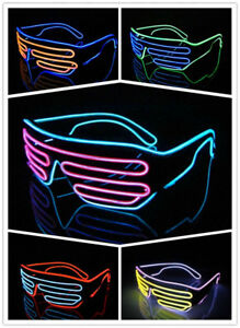 Glow LED Glasses Light Up Shades Flashing Rave Festival Party Neon EL Wire blink