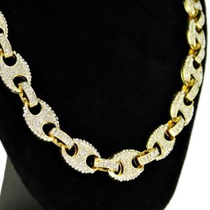 Mens Mariner Choker Chain Iced-Out Bling Gold Finish Hip Hop Necklace 16