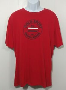 Vintage Polo Sport T Shirt XL Ralph Lauren Red White 90s Spell Out Logo Graphic