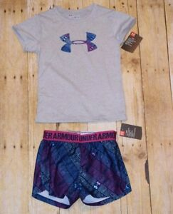Size 5 5T Under Armour Girl's Short Sleeve Shirt and Shorts Set Blue Purple NEW