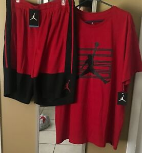 BNWT Men Air Jordan shorts&tshirt DRI FIT OUTFIT BlackGym Red 2XL (BRED)