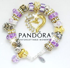Authentic Pandora Bracelet Sterling Silver MOM Purple Gold European Charms NIB