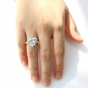 2CT Heart-cut Diamond Solitaire Engagement Ring 10K White Gold Finish