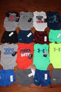 LOT 8 UNDER ARMOUR HEATGEAR BABY OUTFITS SHORTS BODYSUITS 36 MONTH $230 NWT NEW
