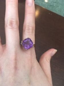 Vintage 6.25ctw Purple Amethyst & Diamond Ring - Solid 10K Yellow Gold Estate