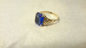 Antique Ostby Barton Blue Stone Small Cocktail Ring Vintage 10k Gold Size 6.75