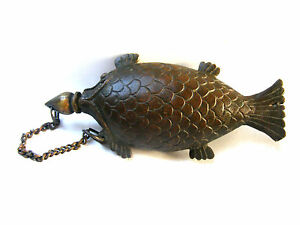 Very Rare Bronze mughal powder flask in shape of Fish.The stopper not original