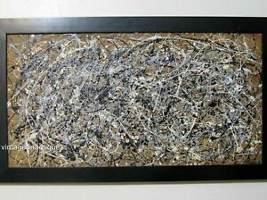 JACKSON POLLOCK ABSTRACT MODERNIST DRIP-STYLE PAINTING SIGNED POLLOCK '48
