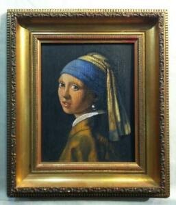 JOHANNES VERMEER GIRL WITH A PEARL EARRING OIL PAINTING SIGNED