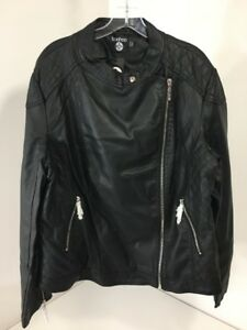 BOOHOO PLUS WOMEN'S ELIZA QUILTED FAUX LEATHER BIKER JACKET BLK UK:22US:18 NWT