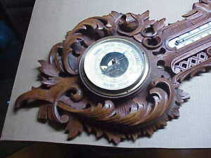 "#574 ANTIQUE 1800 BLACK FOREST CARVED WOOD 29"" WALL BAROMETER MILK GLASS"