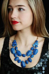 kate spade BLUE LAPIS quarry gems double drop statement necklace