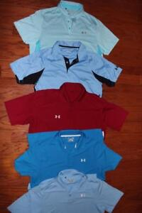 LOT OF 5 UNDER ARMOUR HEATGEAR MENS GOLF POLO SHIRTS COLDBLACK BLUES RED LARGE
