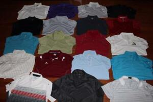LOT OF 19 NIKE FIT DRY ADIDAS MENS GOLF POLO SHIRTS DRI-FIT UNDER ARMOUR MEDIUM