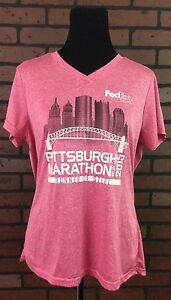 Women's Pittsburgh Marathon Running Dri Fit Athletic Workout T-Shirt Large Pink