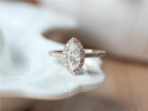 2Ct Marquise-Cut Daimoud Halo Engagement Ring 10k Rose Gold Over