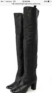 CHANEL Black leather thigh high Shoes boots with patent leather trim size 8(38)